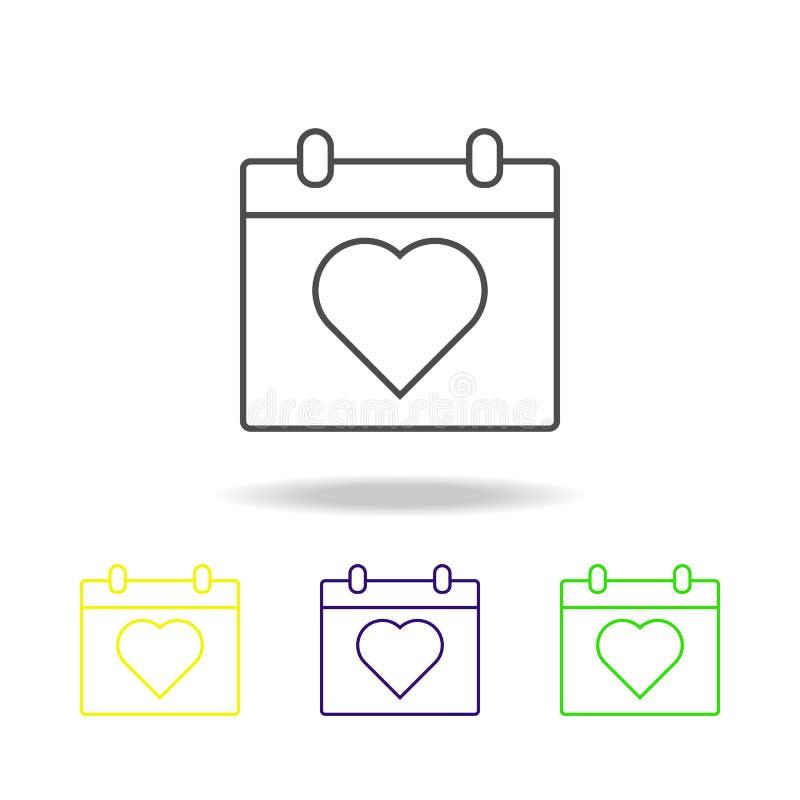 心脏日历多彩多姿的象 婚礼的元素,稀薄的线多彩多姿的象可以为网,商标,流动应用程序,UI,UX使用 皇族释放例证