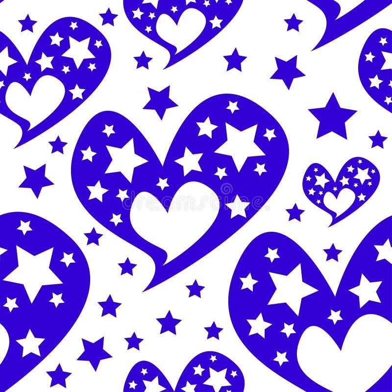 心脏星浪漫无缝的样式 皇族释放例证