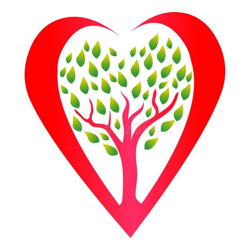 心脏树商标象传染媒介 健康心脏概念图画 库存例证