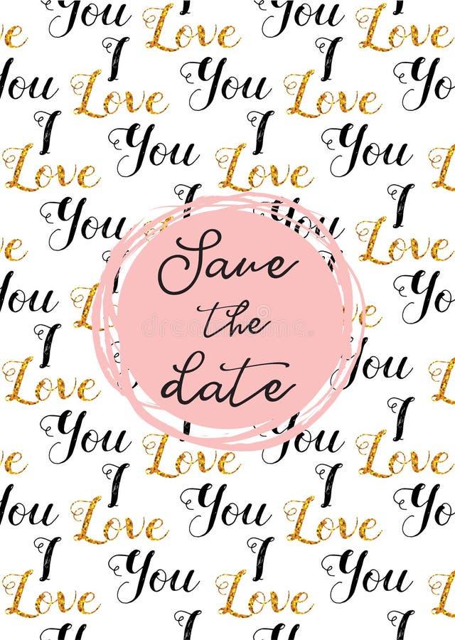 心脏样式、手拉的象和例证华伦泰和婚礼的 保存日期邀请模板
