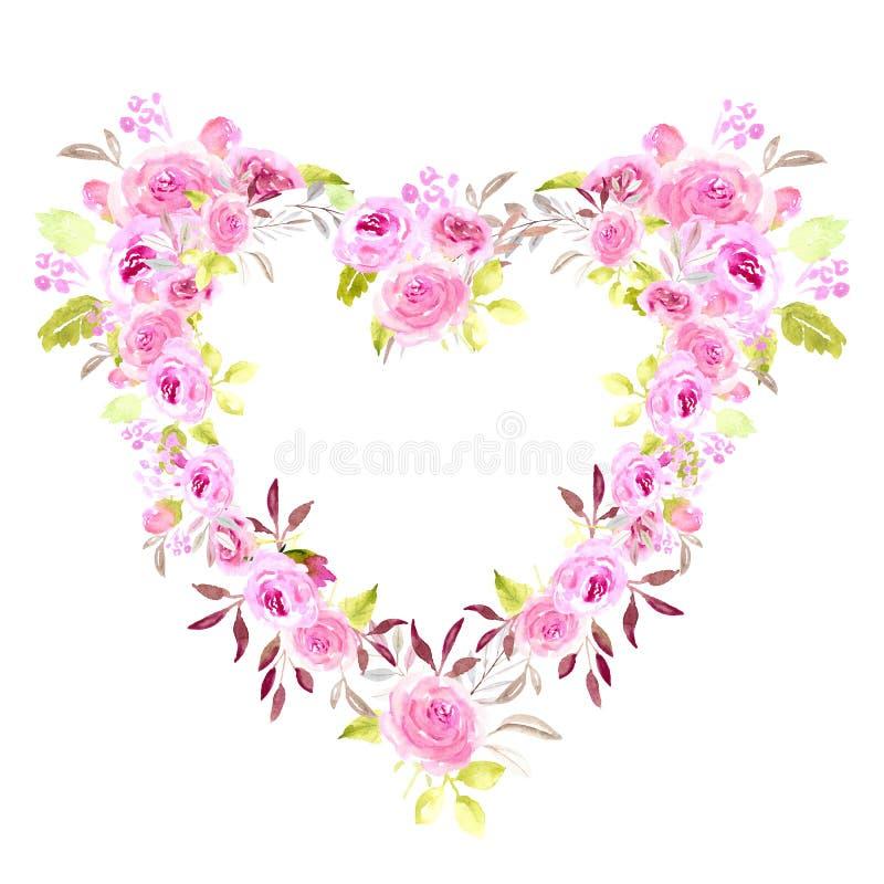心脏桃红色花卉框架水彩 库存照片