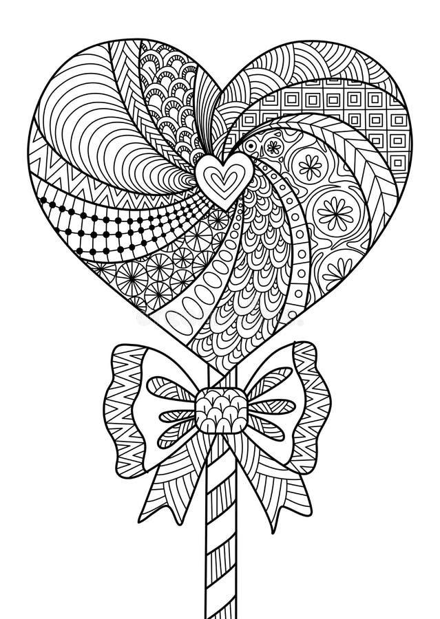 心脏棒棒糖彩图的线艺术设计成人、T恤杉设计和其他装饰的-股票 库存例证