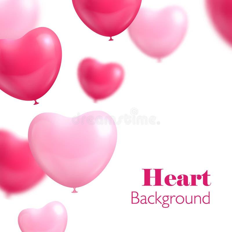 心脏气球白色背景 向量例证