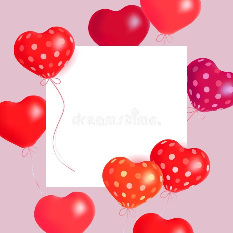 心脏气球 传染媒介高昂气球心脏和纸横幅的假日例证 背景日愉快的华伦泰 向量例证