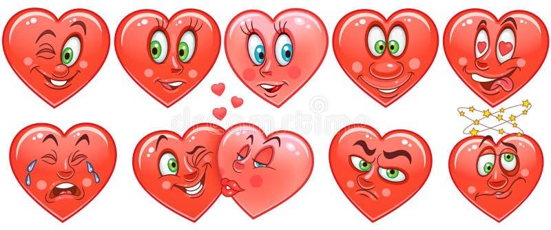 心脏汇集 意思号 面带笑容 Emoji 背景爱红色玫瑰色符号白色 皇族释放例证
