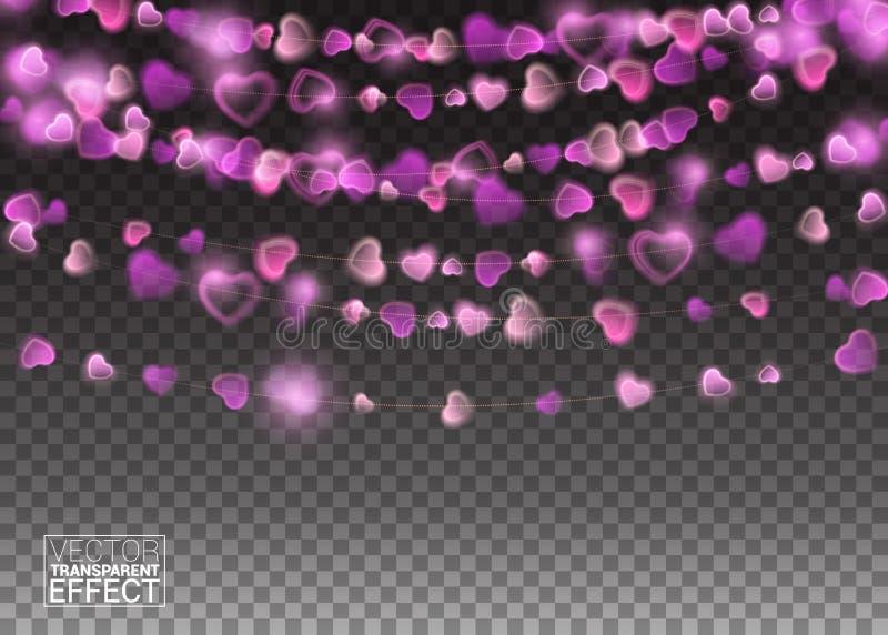 心脏点燃现实设计元素 发光的光假日贺卡设计 诗歌选装饰 导致 向量例证