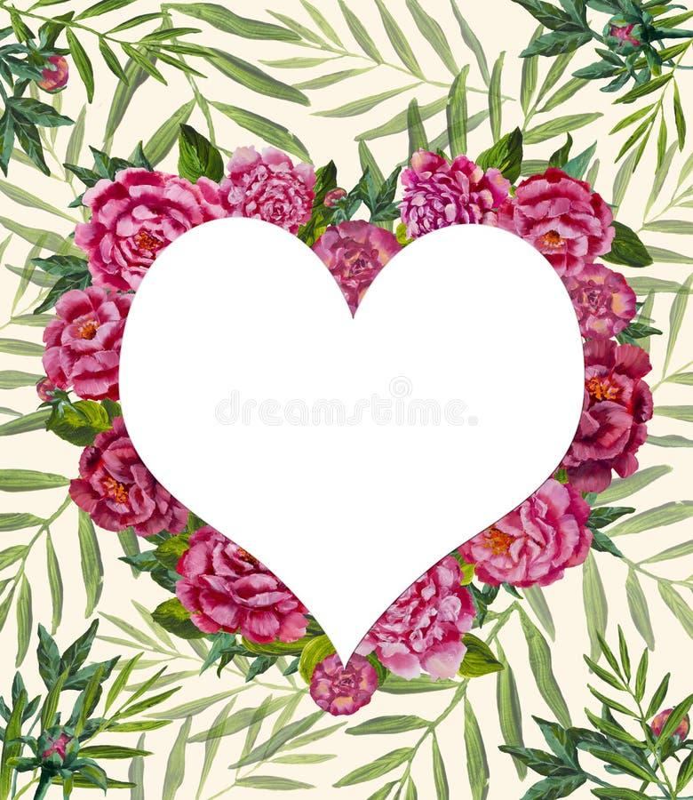 心脏爱水彩绘了花在棕榈分支叶子背景的牡丹玫瑰 向量例证图片