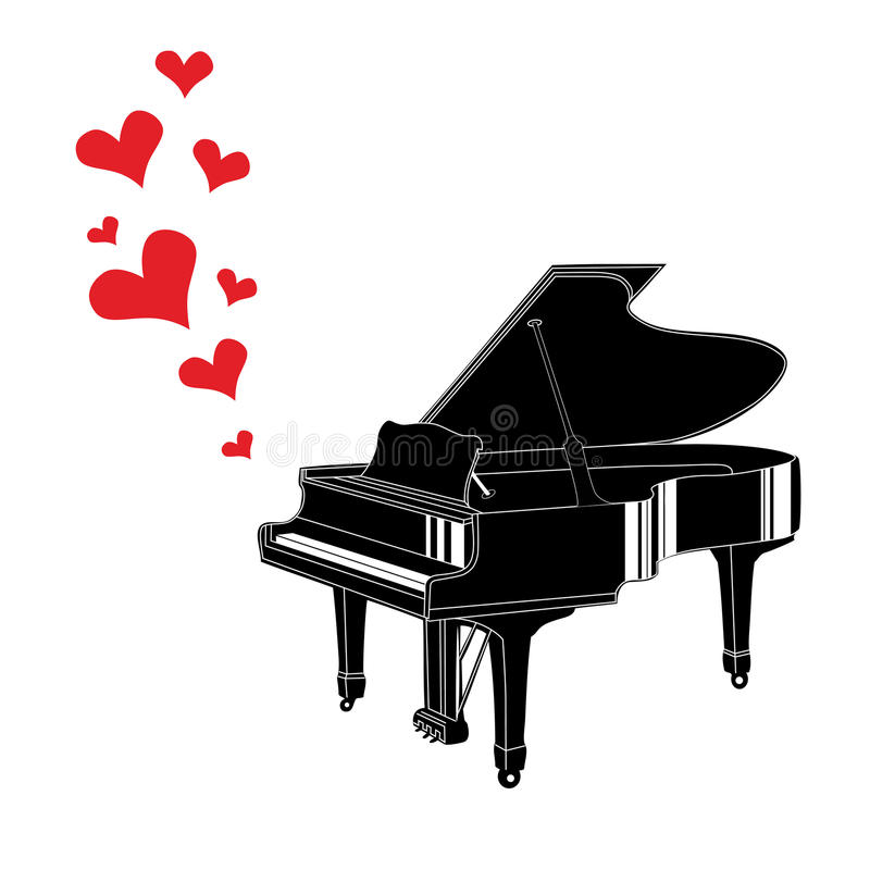 心脏爱音乐钢琴 库存例证