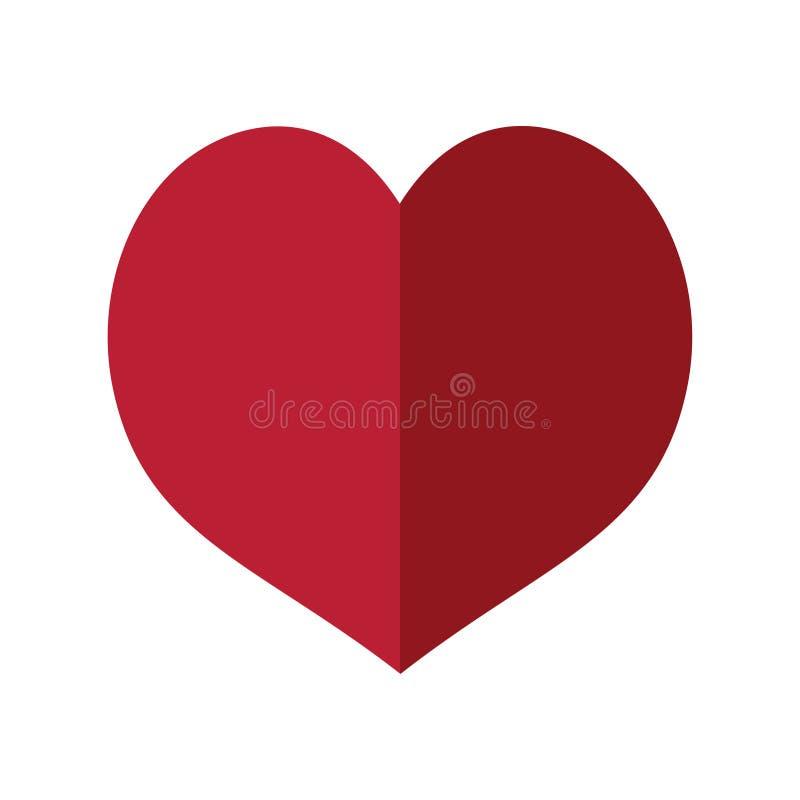 心脏用两部分做了平的设计 库存例证
