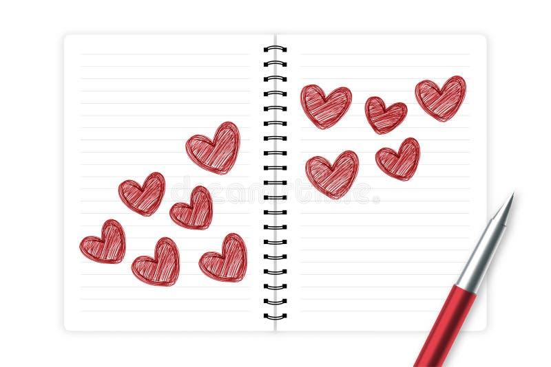 心脏由与笔记本的笔剪影红颜色,华伦泰构思设计爱夫妇标志手图画 皇族释放例证
