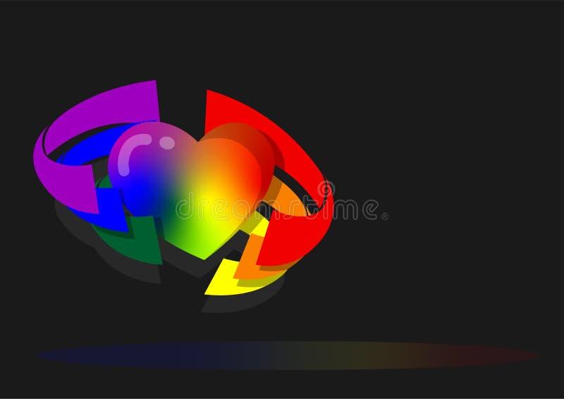 心脏由从彩虹旗子背景的六种颜色吞噬了 向量例证