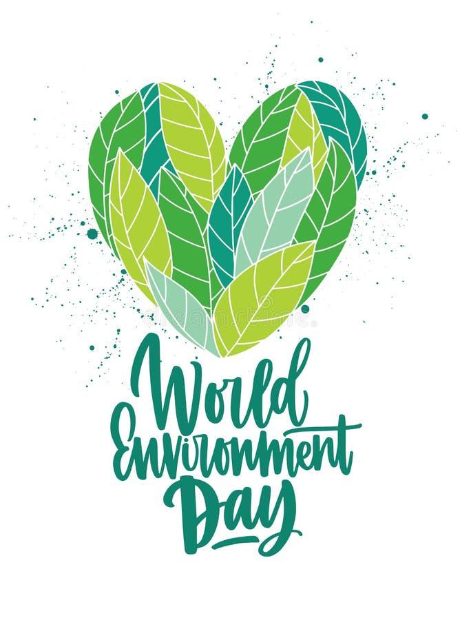 心脏由新鲜的绿色叶子和世界环境日题字制成手写与典雅草写书法 向量例证
