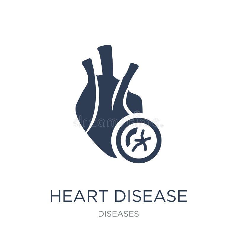 心脏疾患象 在whi的时髦平的传染媒介心脏疾患象 库存例证