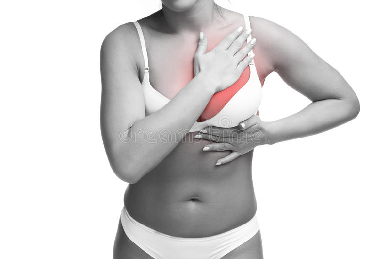 心脏病发作,在人体的痛苦,胸罩的年轻白种人妇女与心血管病,被隔绝对白色背景 库存图片