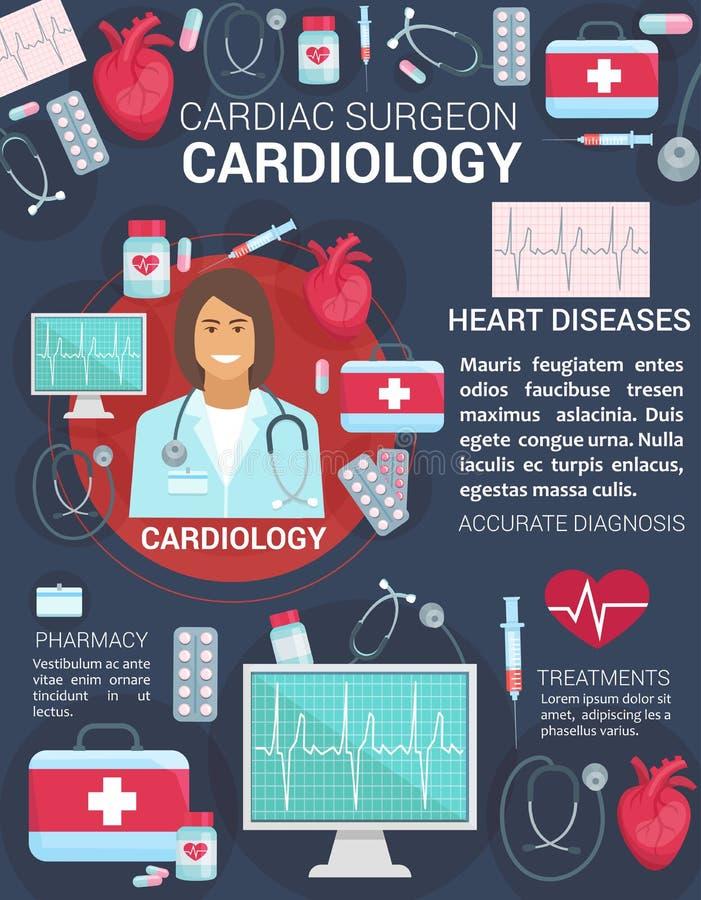 心脏病学心脏健康医学医生海报 皇族释放例证