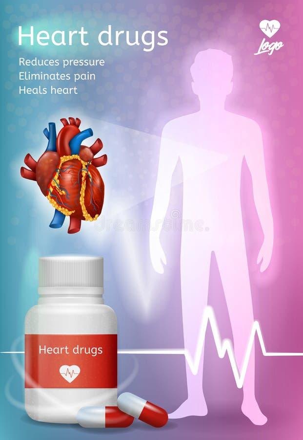 心脏病治疗传染媒介海报的药物 库存例证