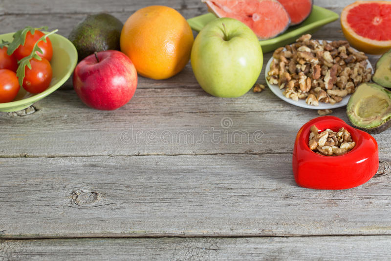 心脏的健康食物 免版税库存图片