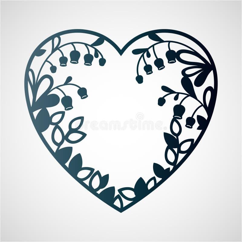 心脏的剪影与铃兰的 向量例证