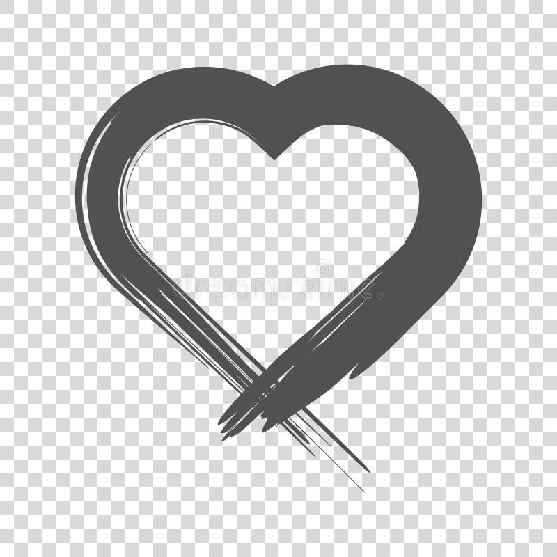心脏的图象给予与刷子 在空白背景的向量图标 向量例证