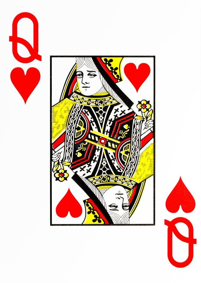心脏的大索引纸牌女王/王后 免版税库存照片