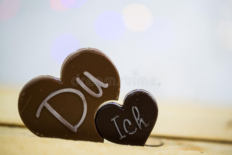心脏的巧克力,被标记,您和我 免版税库存照片
