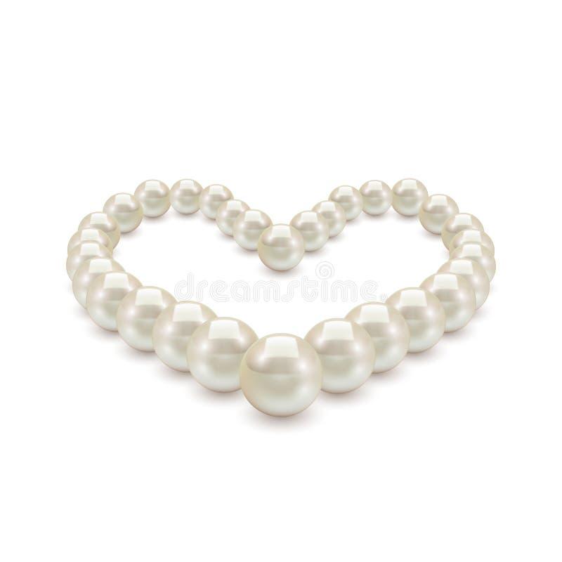 以心脏的形式发光的现实珍珠项链在白色背景 库存例证