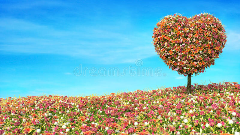 以心脏的形式树花在白色 皇族释放例证