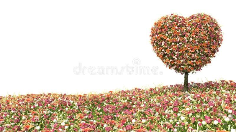 以心脏的形式树花在白色 向量例证