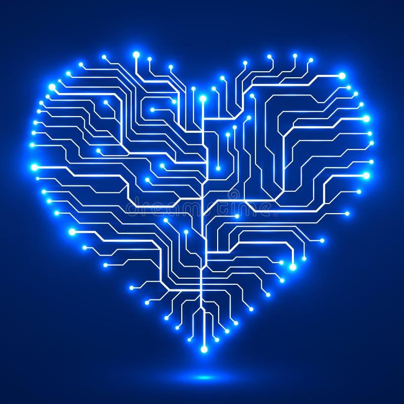 以心脏的形式电路板 向量例证