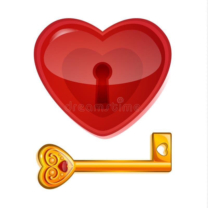 以心脏的形式红色锁 向量例证
