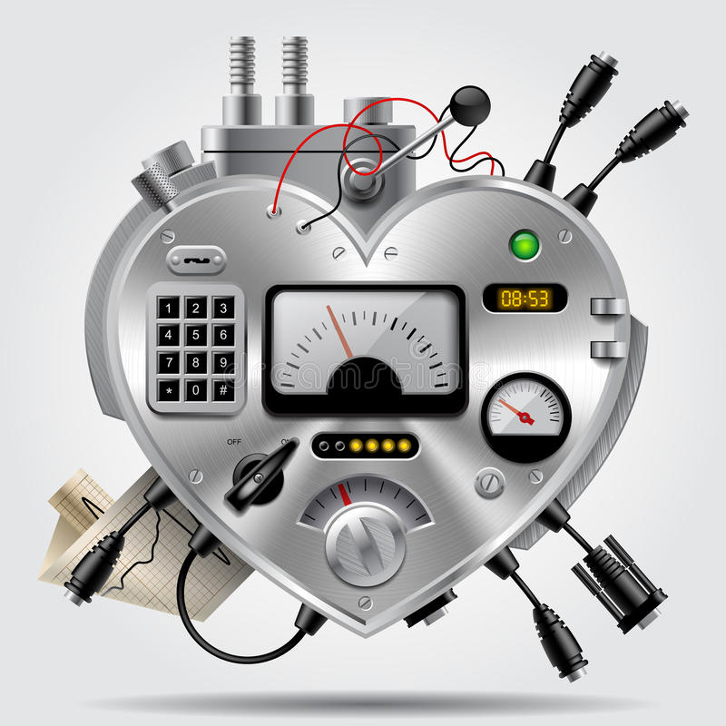 以心脏的形式老练电子设备与仪表板 库存例证