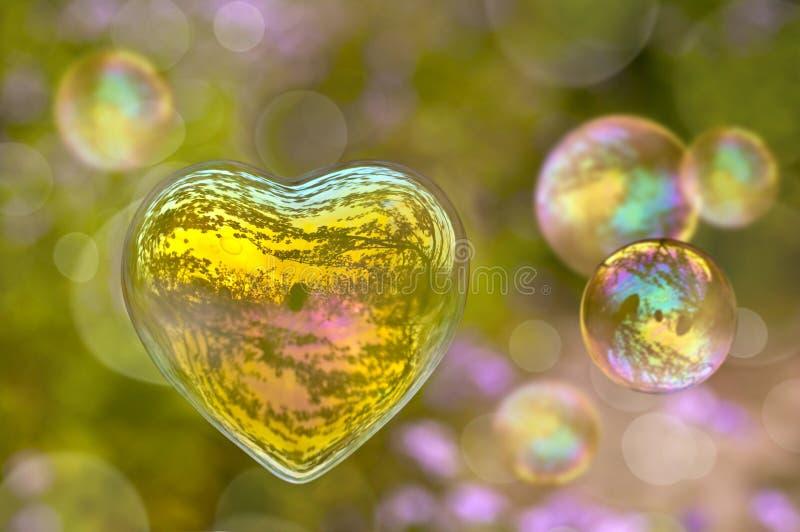 以心脏的形式肥皂泡 免版税图库摄影
