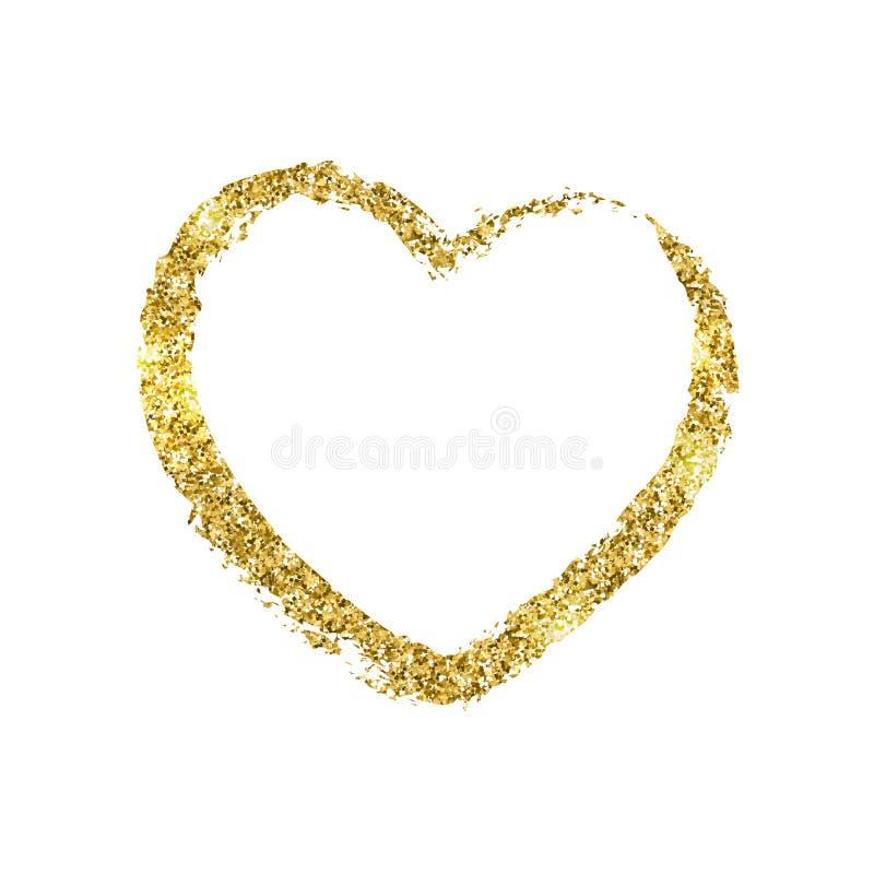 以心脏的形式金黄绘画的技巧 闪烁发光的纹理 向量例证