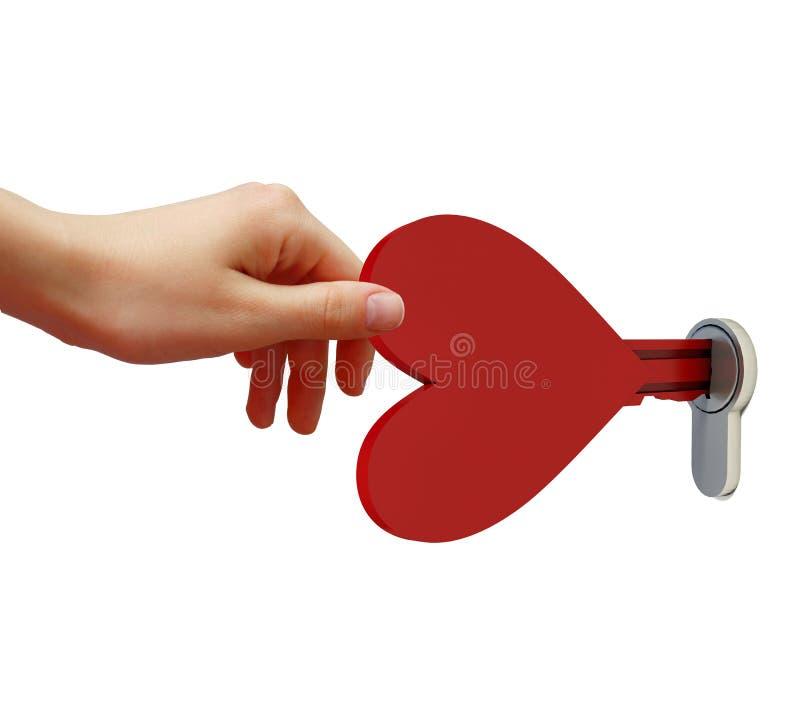 以心脏的形式,人的手打开锁住钥匙 皇族释放例证