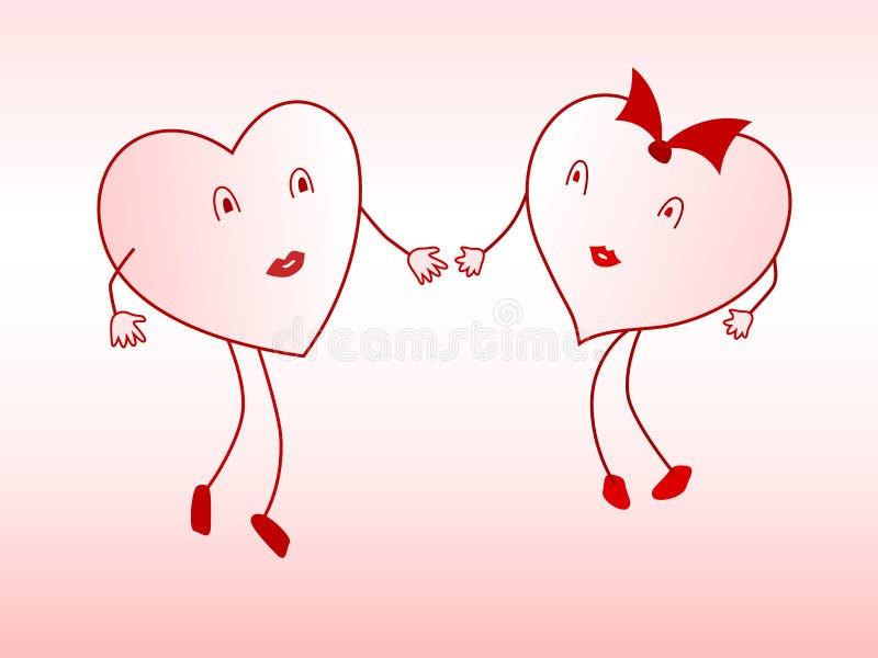 心脏的恋人 向量例证