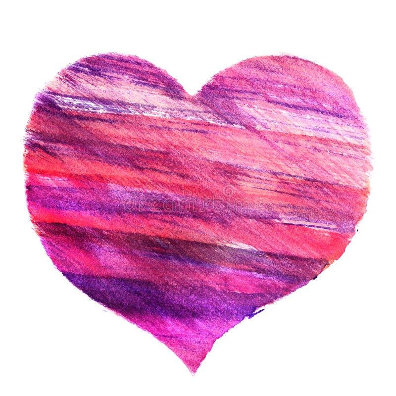 心脏的手拉的水彩图片 免版税库存照片