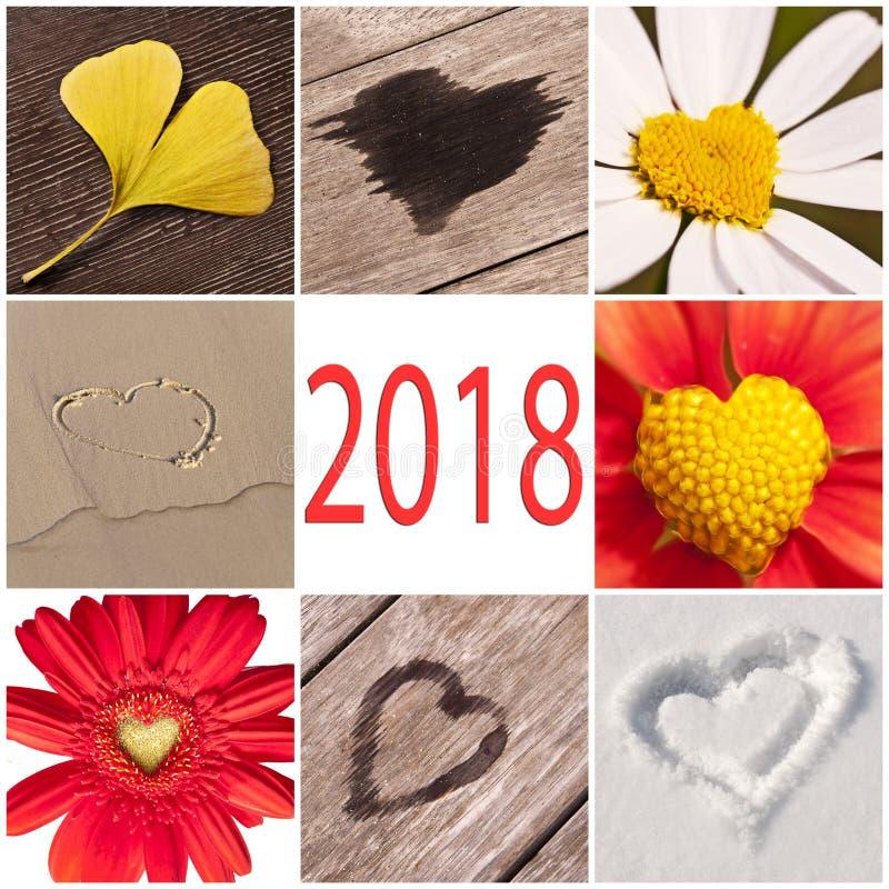 2018心脏的汇集关连与自然、新年和情人节概念 免版税库存照片