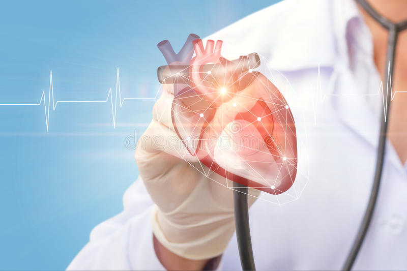 心脏科医师听心脏 免版税库存照片