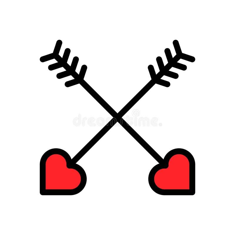 心脏箭头传染媒介例证,填装了样式象编辑可能的概述 库存例证