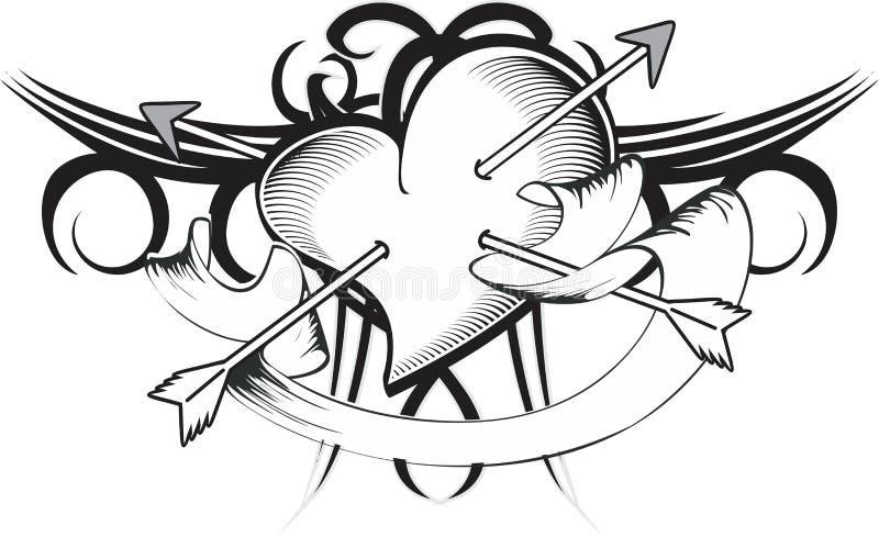 心脏箭头纹身花刺t恤杉丝带图片