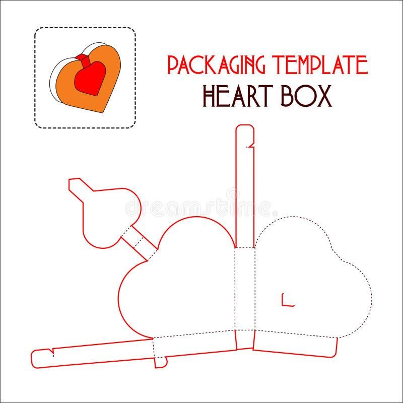 心脏箱子包装的模板 皇族释放例证