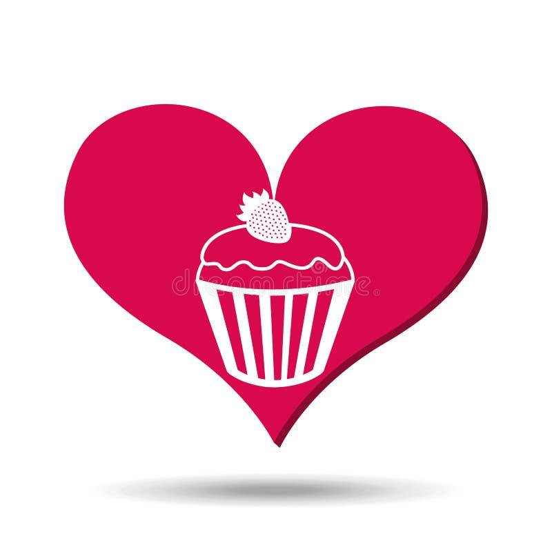 心脏红色动画片杯形蛋糕草莓象设计 库存例证