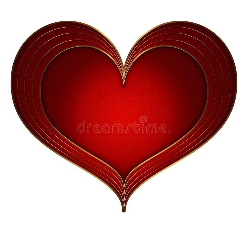 心脏红色金收藏 库存例证