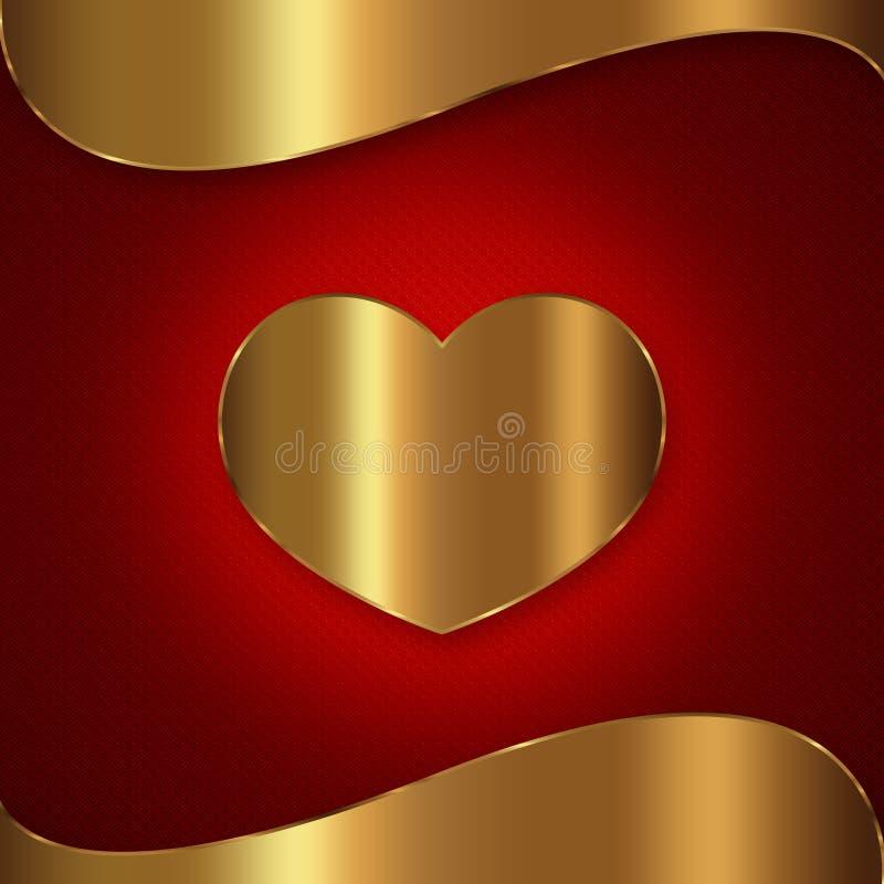 心脏红色金收藏 向量例证