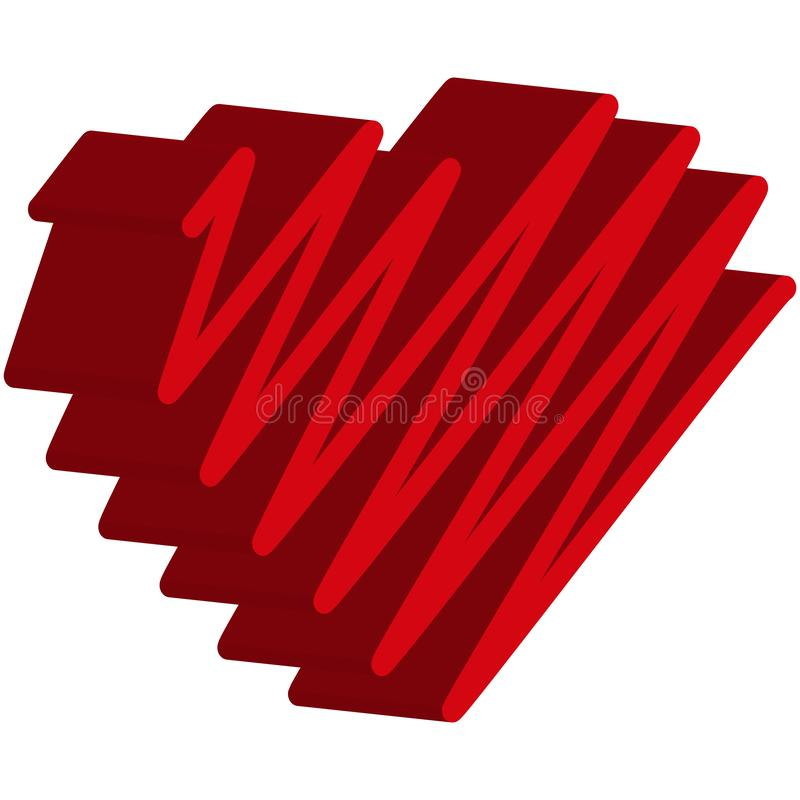 心脏红色 元素为设计情人节 皇族释放例证