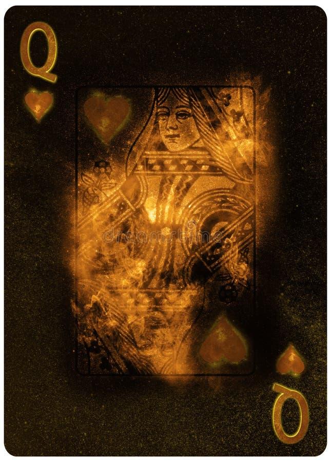 心脏纸牌摘要背景的女王/王后 库存例证