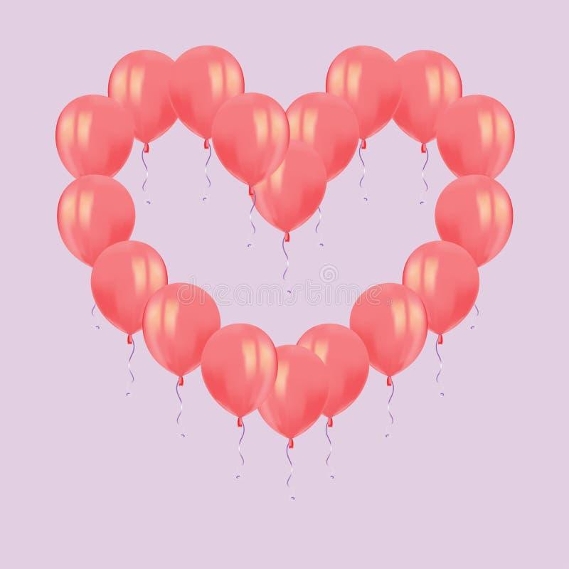 心脏结构的现实空气飞行红色气球与在桃红色背景反射隔绝 Birthd的欢乐装饰元素 皇族释放例证