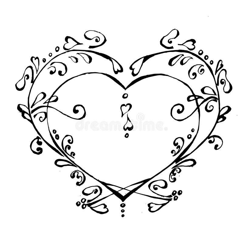 心脏美丽的一点在黑白颜色的 库存例证