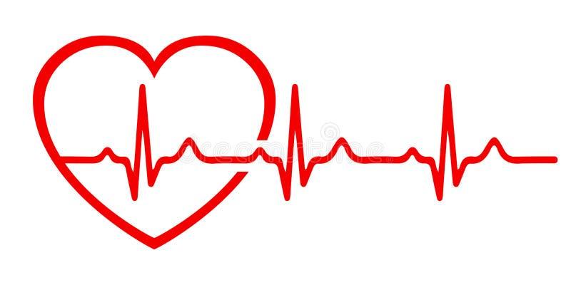 心脏脉冲,一条线,心电图标志,心跳-传染媒介.