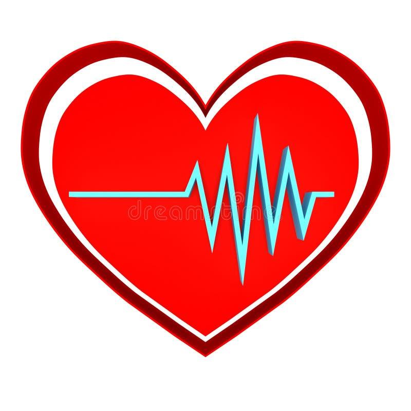 心脏节奏商标 脉冲simbol - 3D回报 皇族释放例证